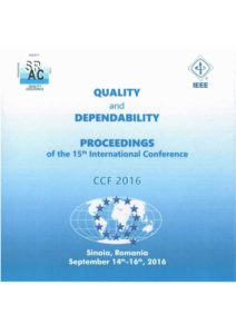 Proceedings of the 15th International Conference on Quality and Dependability – CCF 2016
